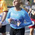 La chanteuse américaine Jax pendant le marathon de New York, le 6 novembre 2016.