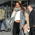Jasmine Tookesse rend au siège de Victoria's Secret à Manhattan. New York, le 1er novembre 2016.