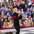 La chanteuse Lady Gaga soutient Hillary Clinton, la candidate du parti Démocrate lors de son dernier meeting de campagne à Raleigh, le 7 novembre 2016, à la veille des élections présidentielles américaines. © Randy Brawdy/The Photo Access via ZUMA Wire/Bestimage