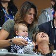 Amélie Mauresmo et son fils Aaron lors du match du quart de finale de l'UEFA Euro 2016 France-Islande au Stade de France à Saint-Denis, France le 3 juillet 2016. © Cyril Moreau/Bestimage