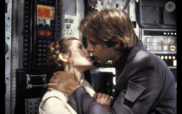 "Carrie Fisher et Harrison Ford dans ""Star Wars : Episode V - L'Empire contre-attaque"" en 1983"