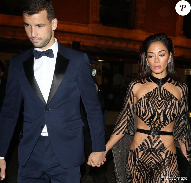 Nicole Scherzinger et son compagnon Grigor Dimitrov quittent la soirée des British Fashion Awards à Londres le 5 décembre 2016.