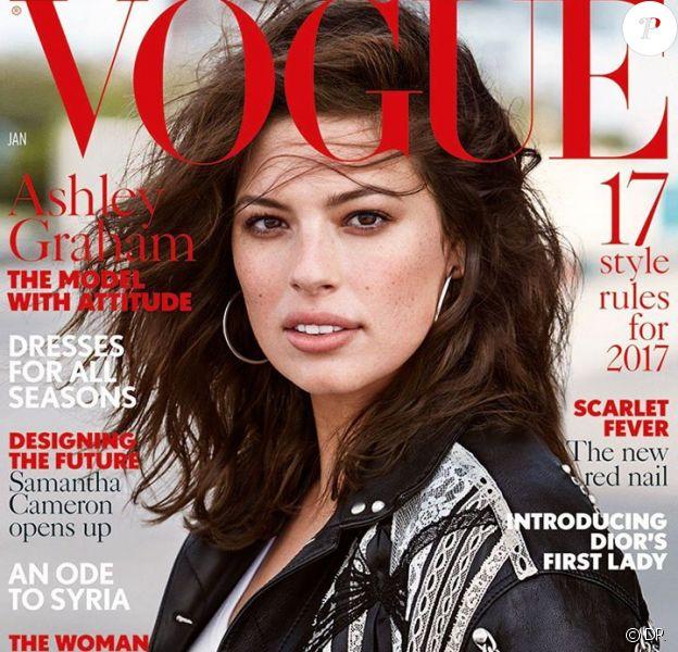 Ashley Graham photographiée par Patrick Demarchelier, en couverture du magazine British Vogue. Numéro de janvier 2017.