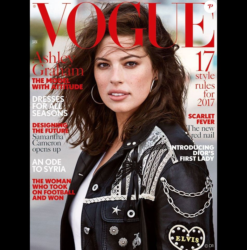 Ashley Graham photographiée par Patrick Demarchelier, en couverture du magazine British Vogue. Numéro de janvier 2017.