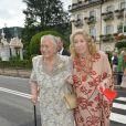 Fernanda Biffi Casiraghi, grand-mère de Pierre Casiraghi, et la comtesse Marta Marzotto, grand-mère de Beatrice Borromeo, décédée en juillet 2016, lors du mariage de Pierre et Beatrice sur les Iles Borromées le 1er août 2015.