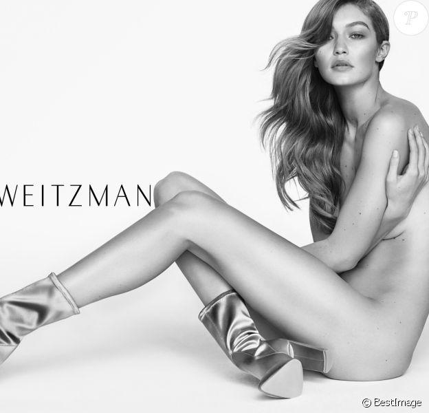 """Gigi Hadid figure sur la nouvelle campagne publicitaire (printemps-été 2017) de """"Stuart Weitzman"""". New York, décembre 2016."""