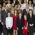 Le roi Philippe de Belgique, la reine Mathilde de Belgique, leurs enfants, le prince Gabriel, le prince Emmanuel, la princesse Eléonore, la princesse Elisabeth ainsi que le prince Lorenz de Belgique, assistent au concert de Noël au Palais Royal de Bruxelles, Belgique, le 21 décembre 2016.
