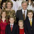 Le roi Philippe de Belgique, la reine Mathilde de Belgique, leurs enfants, le prince Gabriel, le prince Emmanuel, la princesse Eléonore et la princesse Elisabeth assistent au concert de Noël au Palais Royal de Bruxelles, Belgique, le 21 décembre 2016.