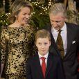 Le roi Philippe de Belgique, la reine Mathilde de Belgique, et le prince Emmanuel assistent au concert de Noël au Palais Royal de Bruxelles, Belgique, le 21 décembre 2016.