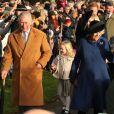 Le prince Charles et la duchesse de Cornouailles à la messe de Noël en l'église St Mary à Sandringham (Norfolk) le 25 décembre 2016.