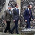 Michael Middleton, son fils James Middleton et James Matthews, fiancé de sa fille Pippa, le 25 décembre 2016 à la messe de Noël célébrée en l'église St Mark d'Englefield, dans le Berkshire, où Pippa et James célébreront le 20 mai 2017 leur mariage.