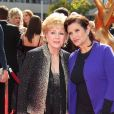 Carrie Fisher et sa mère Debbie Reynolds aux Primetime Creative Emmy Awards à Los Angeles le 11 septembre 2011