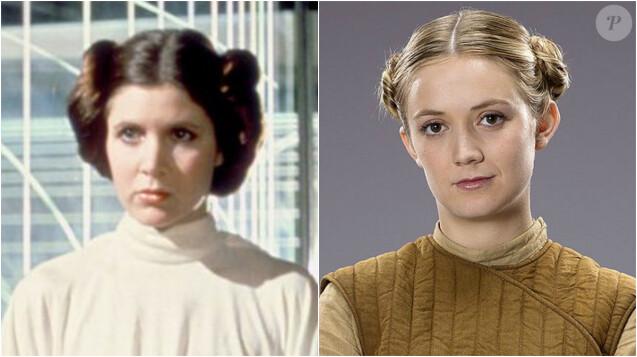 """Carrie Fisher dans le rôle de la princesse Leia dans le premier épisode de la saga """"Star Wars"""". Billie Lourd dans """"Star Wars: Episode VII - Le réveil de la Force"""" en (2015). Elle interprète le rôle du Lieutenant Connix."""