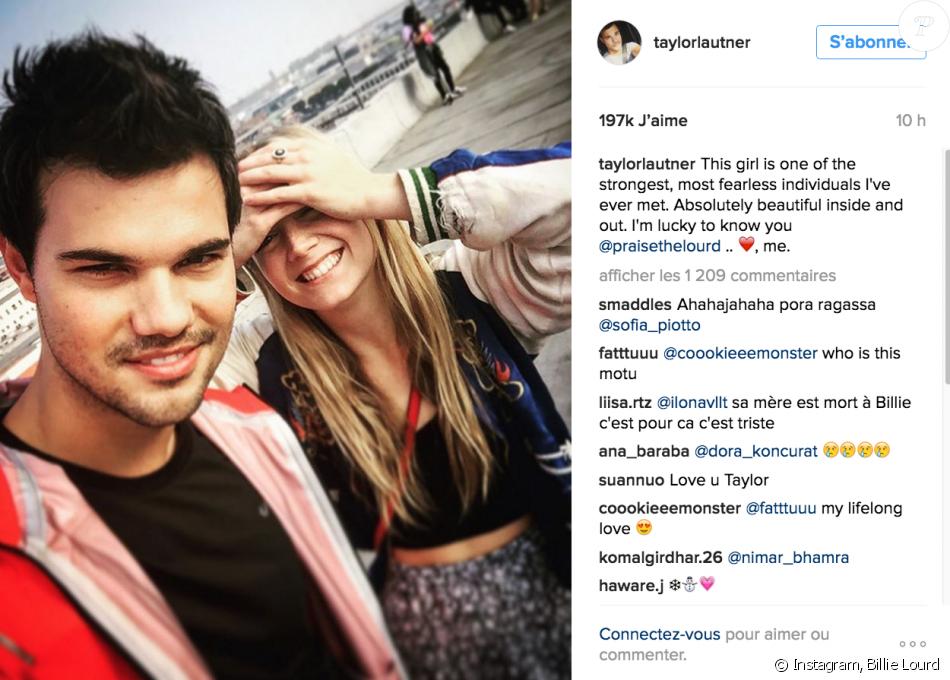 Taylor Lautner rend hommage à Billie Lourd, sa possible petite amie, alors que l'on vient d'apprendre la mort de sa mère, Carrie Fisher. Sur Intsgram, le 27 décembre 2016.