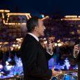 """Exclusif - Nikos Aliagas et François-Xavier Demaison lors de l'enregistrement de l'émission """"Toute la musique qu'on aime"""" à Disneyland Paris, le 12 décembre 2016. L'émission sera présentée par Nikos Aliagas et diffusée sur TF1 le 31 décembre. © Cyril Moreau / Bestimage"""