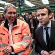 Emmanuel Macron, en déplacement à Berlin, visite une initiative de la Deutsch Bahn (l'exploitant du réseau ferroviaire allemand) qui intègre des réfugiés le mardi 10 janvier 2017. 10/01/2017 - Berlin