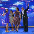 Sasha, Malia, Michelle et Barack Obama unis lors de la convention nationale du Parti démocrate au Times Warner Cable Arena de Charlotte le 6 septembre 2012