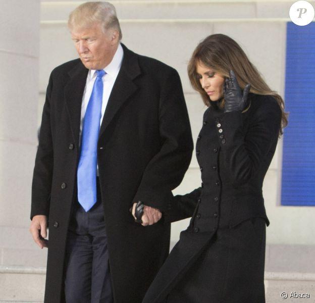 Donald Trump et sa femme Melania au Lincoln Memorial à Washington le 19 janvier 2017