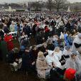 Des supporters de Donald Trump se tenant devant le Capitole des Etats-Unis avant l'investiture le 20 janvier 2017