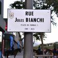 Inauguration de la rue Jules Bianchi à Nice le 23 janvier 2017, en hommage au pilote de F1 niçois victime d'un accident lors du Grand Prix du Japon et décédé des suites de ses blessures en juillet 2015.