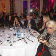 """Léa François, Vanessa Valence, Nathalie Marquay-Pernaut, Stéphanie Pareja, Philippe Risoli, Muriel Belgy et Véronique de Villèle - Dîner de gala de l'association """"Enfant Star & Match"""" à l'hôtel Carlton à Cannes, le 28 janvier 2017."""