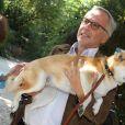 """Exclusif - Fabrice Luchini et sa chienne shibuya - Arrivées à l'enregistrement de l'émission TV """"Vivement Dimanche prochain"""" à Paris. Le 14 septembre 2016"""