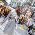Iris Mittenaere, Miss Univers 2016, lors d'un rendez-vous avec nos photographes à Times Square (New York) le 6 février 2017.