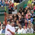 Yannick Noah dispute le trophée des légendes devant sa famille lors des internationaux de France de tennis à Roland Garros à Paris le 4 juin 2016. © Moreau - Jacovides / Bestimage