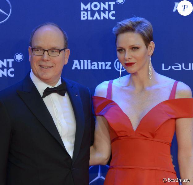 Le prince Albert II de Monaco et la princesse Charlene de Monaco lors de la soirée des Laureus World Sport Awards 2017 à Monaco le 14 février 2017. © Michael Alesi/Bestimage