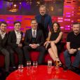 Graham Norton avec Daniel Radcliffe, Joshua McGuire, Tom Hiddleston, Ruth Wilson et Ricky Gervais lors du tournage du Graham Norton Show aux The London Studios, le 15 février 2017.