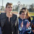 """La princesse Charlene de Monaco assiste au premier """"Charity Mile"""" - une course hippique caritative rebaptisée Prix princesse Charlene de de Monaco à l'hippodrome de la Côte d'Azur de Cagnes-sur-mer le 25 février 2017."""