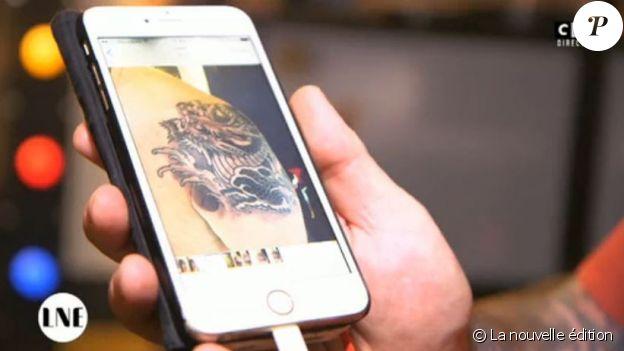 Image du tatouage réalisé par Tin-Tin sur un ministre, à priori sur Jean-Michel Baylet. La nouvelle édition, le 2 mars 2017
