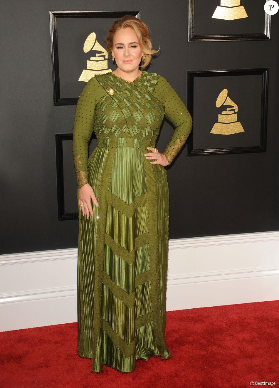 Adele lors de la 59ème soirée annuelle des Grammy Awards au Staples Center à Los Angeles, le 12 février 2017. © CPA/Bestimage