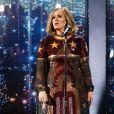"""Adele (Meilleure artiste féminine anglaise, Meilleur single anglais de l'année pour """"Hello"""", Meilleur album britannique pour """"25"""", prix d'honneur) à la Cérémonie des BRIT Awards 2016 à l'O2 Arena à Londres, le 24 février 2016."""