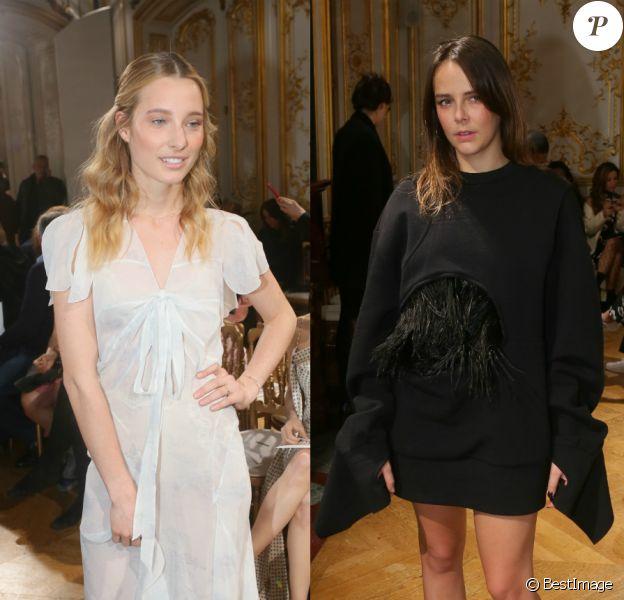 Ilona Smet et Pauline Ducruet étaient les invités stars du défilé John Galliano, à l'Hôtel Le Marois. Paris, le 5 mars 2017.