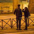 Exclusif - Nabilla Benattia et son compagnon Thomas Vergara prennent des photos à la sortie du restaurant Monsieur Bleu à Paris, le 10 mars 2017.