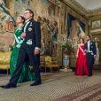 La princesse Victoria (en robe Elie Saab) et le prince Daniel de Suède, suivis de la princesse Sofia et du prince Carl Philip arrivent pour le premier dîner officiel de l'année au palais royal Drottningholm à Stockholm le 23 mars 2017.