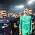 Le PSG a remporté aux dépens de l'AS Monaco (4-1) la finale de la Coupe de la Ligue 2017 au Parc OL à Lyon, le 1er avril 2017. © Cyril Moreau/Bestimage