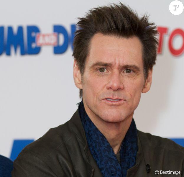 """Jim Carrey au photocall du film """"Dumb and Dumber"""" à Londres. Le 20 novembre 2014"""