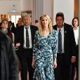 """Stephanie Bschorr, Ivanka Trump, Angela Merkel, Christine Lagarde et la reine Maxima des Pays-Bas participent au sommet """"Women20"""" en marge du G20, à l'hôtel Intercontinental. Berlin, le 25 avril 2017."""