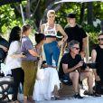 Lais Ribeiro et Martha Hunt en shooting photo pour Victoria Sport, la ligne de vêtements de sport de Victoria's Secret. Miami, Floride, le 26 avril 2017.