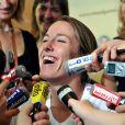 Justine Henin face aux journalistes lors du tournoi de Roland Garros le 25 mai 2008.
