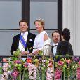 Le prince Constant&307;n, la princesse Mabel, le prince Daniel et la princesse Victoria - Les familles royales au balcon lors du 80ème anniversaire du roi Harald et de la reine Sonja de Norvège à Oslo le 9 mai 2017. 09/05/2017 - Oslo