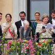 Le prince Frederik, la princesse Mary, le prince Nikolaos de Grèce, la princesse Tatiana, la reine Margrethe, La reine Anne Marie, le prince Paul, la princesse Marie Chantal - Les familles royales au balcon lors du 80ème anniversaire du roi Harald et de la reine Sonja de Norvège à Oslo le 9 mai 2017. 09/05/2017 - Oslo