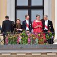 La grande duchesse Maria Teresa, le grand duc Henri, la reine Mathilde et le roi Philippe de Belgique - Les familles royales au balcon lors du 80ème anniversaire du roi Harald et de la reine Sonja de Norvège à Oslo le 9 mai 2017. 09/05/2017 - Oslo