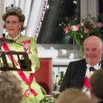 La reine Sonja de Norvège pendant son discours lors du dîner du double 80e anniversaire du roi Harald V de Norvège et de la reine Sonja de Norvège le 9 mai 2017 au palais royal à Oslo.