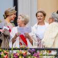 Le roi Willem-Alexander des Pays-Bas, la reine Maxima, la princesse Beatrix et la princesse Mabel d'Orange-Nassau. Célébrations du double 80e anniversaire du roi Harald V de Norvège et de la reine Sonja de Norvège le 9 mai 2017 au palais royal à Oslo.