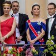 La princesse Victoria et le prince Daniel de Suède. Célébrations du double 80e anniversaire du roi Harald V de Norvège et de la reine Sonja de Norvège le 9 mai 2017 au palais royal à Oslo.