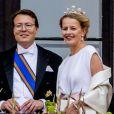 Le prince Constantijn et la princesse Mabel d'Orange-Nassau. Célébrations du double 80e anniversaire du roi Harald V de Norvège et de la reine Sonja de Norvège le 9 mai 2017 au palais royal à Oslo.