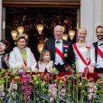 Célébrations du double 80e anniversaire du roi Harald V de Norvège et de la reine Sonja de Norvège le 9 mai 2017 au palais royal à Oslo. Ici avec la princesse Mette-Marit et le prince Haakon de Norvège ainsi que la reine Maxima des Pays-Bas.